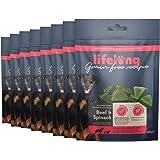 Marchio Amazon - Lifelong - Snack per cani, senza grano, con mono - proteina, con manzo e spinaci (8 confezioni da 240gr)