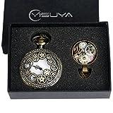 fasiou Vintage Bronze Hohl Gears Quarz-Taschenuhr mit Halskette Geschenk Set Anhänger für Männer Frauen
