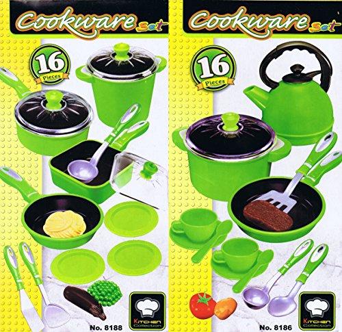 32 tlg Mega Kochtopf Set für Spielküche Pfannen Töpfe Teeservice uvm grün
