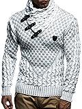 LEIF NELSON Herren Strickpullover Pullover LN5255; Größe XL, Ecru-Grau