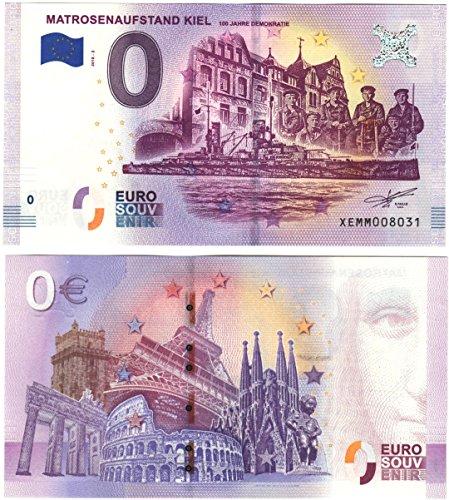 0 Euro Schein Matrosenaufstand Kiel - Hundert Jahre Demokratie 2018 - Null Euro Souvenier Banknote mit verschiedenen Sehenswürdigkeiten