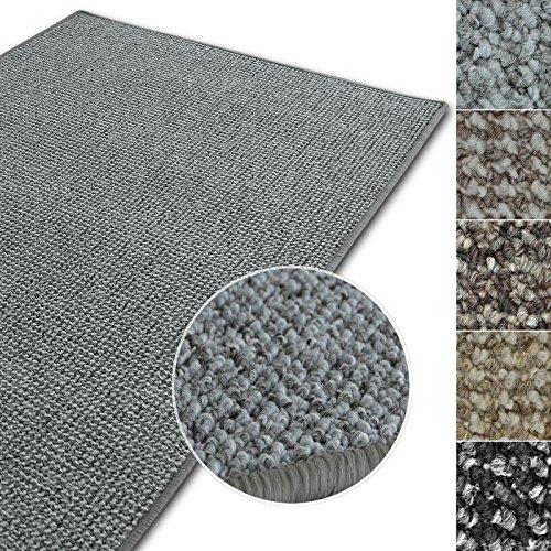Kurzflor Teppich Carlton | Flachgewebe dezent gemustert | robuster Schlingenteppich in vielen Größen | als Wohnzimmerteppich, Küchenteppich, Schlafzimmerteppich (Hellgrau - 140x200 cm)