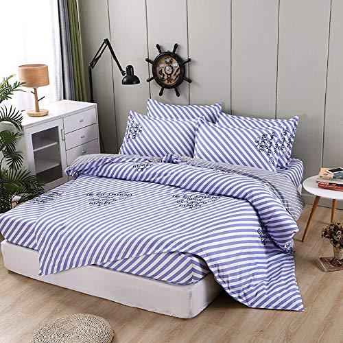 Lsdakoo Bettwäsche Set Vierteiliges Bett 1 Bettbezug + 1 Matratze + 2 Kissenbezüge In Verschiedenen Größen Und Farben, Blau-Weiß Gestreifter Bettbezug 150 * 200 cm -