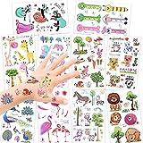 Konsait 150 Assorted Zoo Tier Temporäre Tattoos Set Für Kinder Mädchen Jungen, Glitzereffekt Tier kindertattoos Aufkleber Sticker für Kindergeburtstag Mitgebsel Kinder Spielen