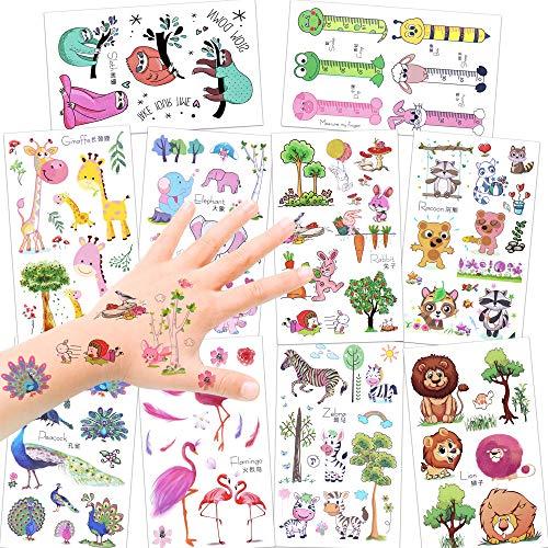 Einfach Zu Kleinkind Kostüm Tragen - Konsait 150 Assorted Zoo Tier Temporäre Tattoos Set Für Kinder Mädchen Jungen, Glitzereffekt Tier kindertattoos Aufkleber Sticker für Kindergeburtstag Mitgebsel Kinder Spielen