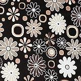 OXFORD Polyester Stoff Braun Creme Blumen wasserabweisend