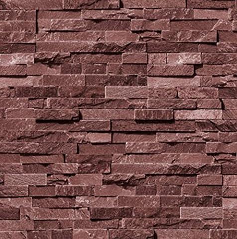 Gefälschte Brick Tapetenmuster Mauerwerk PVC Wasserdichte Tapete Restaurant Alte Tapete,Winered (Gefälschte Brick)