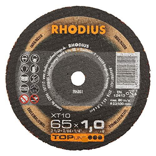 RHODIUS extra dünne INOX Minitrennscheiben Metall XT10 MINI Ø 65 mm für Geradschleifer Druckluftschleifer Metalltrennscheibe 50 Stück