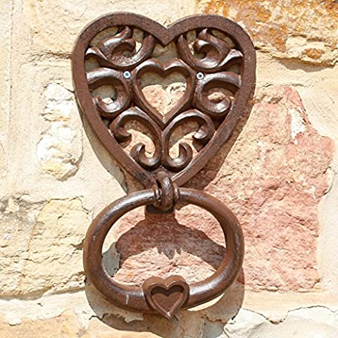 Extra Large Traditional Cast Iron Love Heart Door Knocker - A Unique Accessory For the Front Door and Gift For A 6th Wedding Anniversary - H31 x W20cm - Fantastic for Large Entrance Ways and Doors!