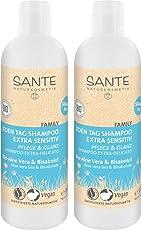 SANTE Naturkosmetik Jeden Tag Shampoo Bio-Aloe Vera & Bisabolol extra sensitiv, Für empfindliche Kopfhaut, Vegan, 2x300ml Doppelpack