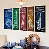 Hongrun kreative Hand bemalt Aufkleber wall Poster Musik Unterricht Schlafzimmer Wand personalisierte Wall Art bar Instrumentalmusik sind 94 * 42 cm