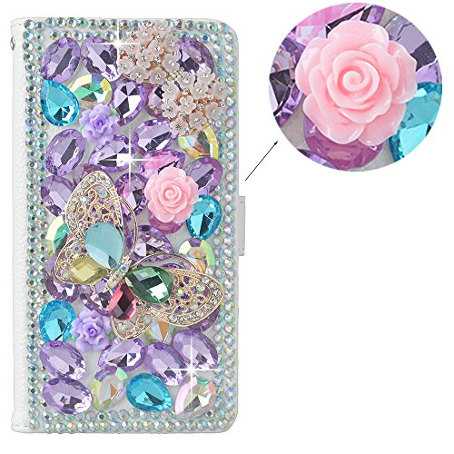 spritech (TM) 3D Handmade Dekoration colorful Diamant Kristall mit Butterfly Flower Design Weiß Leder Wallet, PT 1, iPhone 6 plus 5.5 Flower Design Iphone