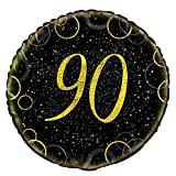 Unique Party 55840 45,7 cm Glitz Gold Folie zum 90. Geburtstag Ballon