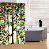 fourHeart Top Qualität Anti-Schimmel Bunt Baum Duschvorhang Digitaldruck inkl. 12 Duschvorhangringe für Badezimmer Art-I 180 x 180cm