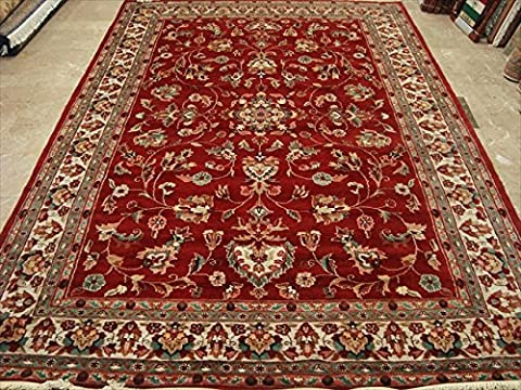 Rectangle Area Rug Amazing Red Floral Hand Knotted Silk Wool Carpet (10 x 7)'