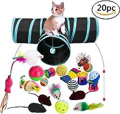 Katzenspielzeug Set mit Katzentunnel, 20 Stück Katzen Spielzeug Variety Pack für Kitty