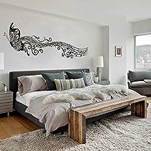 "mairgwall música para volar mariposas vinilo niña guardería adhesivo decorativo para cabecero de cama Arte murales, vinilo, Custom, 22""h x96""w"