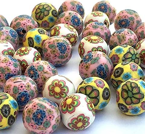 40 x 12mm millefiori Flower Pattern Polymer Clay Beads Round Hole 2mm (Multi)