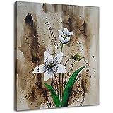 Raybre Art ® 100% Peinte à la main sur toile 50x60 cm Paysages Naturels Peintures Abstraites des Fleurs Grand Moderne Tableaux à l'huile sur toile décoratifs pour la maison déco muraux, Sans cadre (Eustoma fleur)