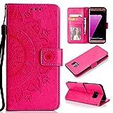 Misteem Hülle Galaxy S7 Edge Mandala Floral Brieftasche, 3D Retro Schön Sonnenblume Muster Hülle Kartenhalter Abdeckungs Flip Leder Wallet Stoßfest Schutzhülle PU Magnetisch Standfunktion Tasche Handy Hüllen für Samsung Galaxy S7 Edge (Blumen Rote Rose)