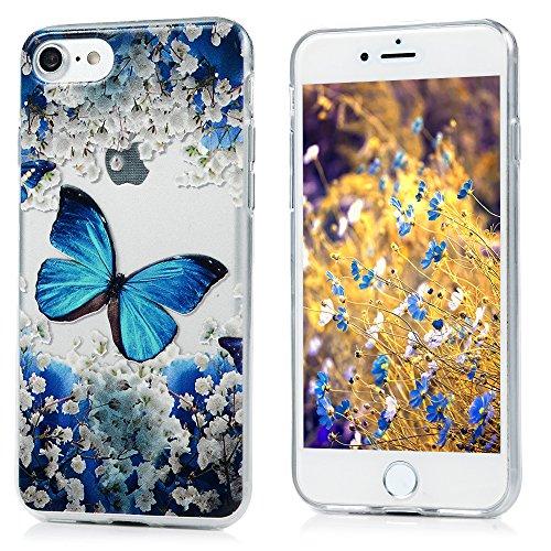 YOKIRIN iPhone 7 4.7 Pouces Coque de Protection - Phone Case TPU Couverture Complète Dessin Coloré - CHAT SOUS LA FLEUR PAPILLON BLEU