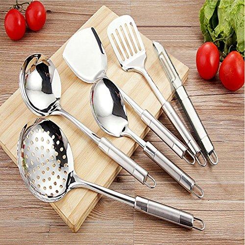 MDRW-Kochen Gute Helfer Edelstahl Kochgeschirr Mit Einem Sieb Schaufel Teelöffel Wok-Kit (Edelstahl-wok-kit)
