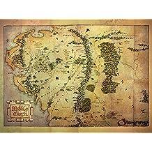 """60 x 80 cm de el Hobbit """"de la Tierra Media mapa"""" Impresión de lienzo"""