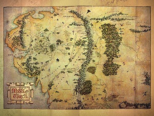 60 x 80 cm de el Hobbitde la Tierra Media Mapa Impresión de Lienzo