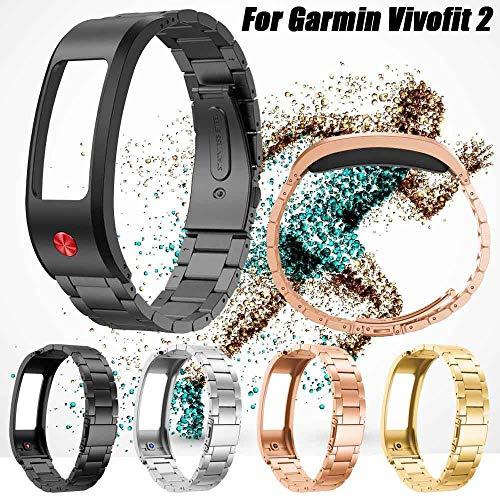 n Vivofit 2 Edelstahl Armband mit Schließe, Armbänder Ersatz Verstellbare Riemen,Edelstahl Armbände mit Schnellverschluss Replacement für Damen Herren (Schwarz) ()
