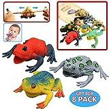 Conjunto de Rana de Goma de 4,5 Piezas ( 6 paquetes) , con Bolsa de Regalo y Tarjeta de Aprendizaje y Enseñanza - Juguete Blando de Figuras de Rana Simulada para la Bañera de Chicos y Niños