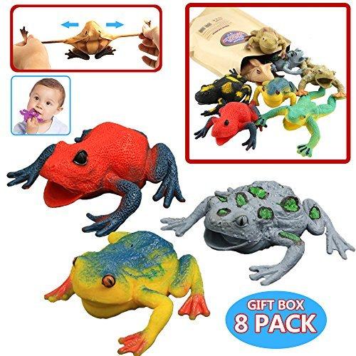 on Frosch,Gummifrosch-Set 4.5 inch (6 Packset),lebensmittelgeeignetes Material TPR,super dehnbar,mit geschenkter Tasche,Tierwelt, Froschfiguren,für Jungs und Kinder,Badespielzeug ()