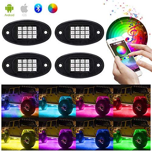 Haofy Auto RGB LED Rock Lights Kit, 4 Pods Multicolor Hell Neon Light mit Bluetooth App Steuerung Und kabelloser Controller, Wasserdichtes Beleuchtungs Kit mit Timing Funktion, Musikmodus, Bremsmodus -
