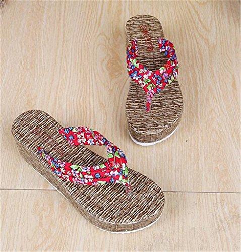 NEWZCERS Estate anti-frana d'estate delle donne con i sandali della spiaggia di sabbia di trascinamento, pantofole spesso Rosso