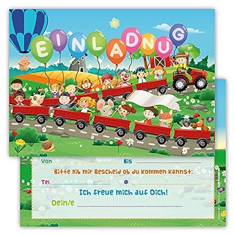 12 Lustige Einladungskarten Set Kindergeburtstag Party Tieren Bauernhof Traktor für Jungen Mädchen Kinder Top Geburtstagseinladungen Karten