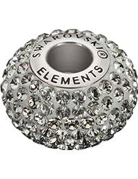 Grand Trou Perles de Verre a enfiler de Swarovski Elements 'BeCharmed Pave' 14.0mm (Black Diamond, Acier affiné), 12 Pièces