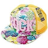 Belsen Mädchen Rock Blume Baseball Kappen Mesh Cap Truckers Hat (gelb)