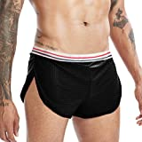 GYMAPE Men Mesh Shorts with Large Split Sides Underwear Boxers Briefs Fishnet Sheer Swimming Trunks