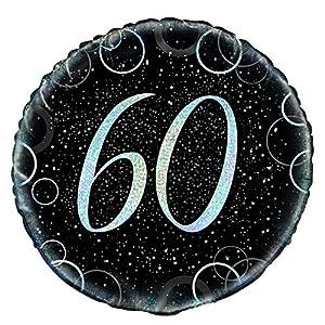 Unique Party- Globo foil de 60 cumpleaños, Color plateado metálico brillante, 45 cm (55824)