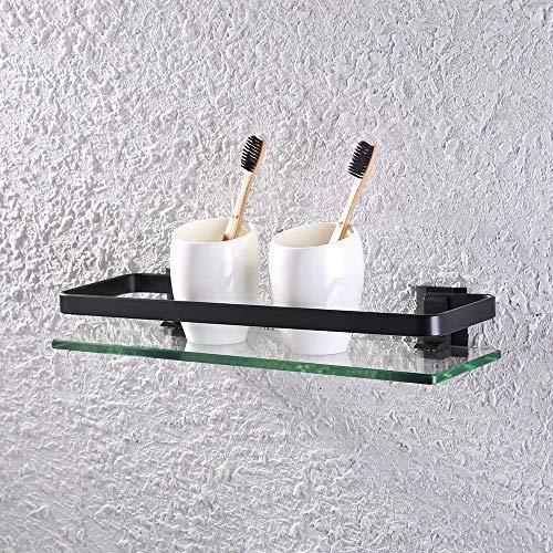 Zeitgenössische Schwarz Lagerung (KES Bad Glasablage mit Rail Aluminum und Zusätzliche Dicke Temperiert Glas Dusche Regale Rechteckige Zeitgenössische Stil Wandhalterung, Schwarz, A4126A-BK)