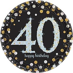 Amscan 551545 - Platos cumpleaños para 40 años, 23 cm diámetro, 8 unidades