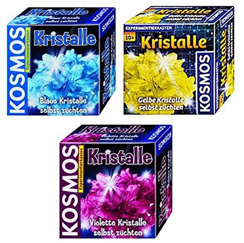 Kristalle selbst züchten blau + gelb + violett Kosmos