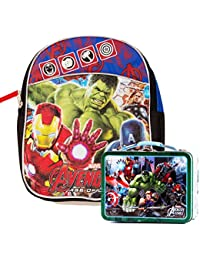 "Marvel Avengers Preschool Backpack Toddler (11"") With Mini Avengers Lunch Box Tin"
