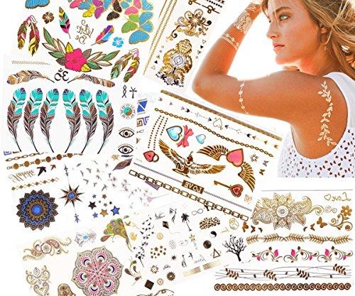 JZK® 10 Blätter Verschiedene Metallic Gold und Silber Aufkleber Temporäre Schmuck Tattoos, Wasserdicht (A)