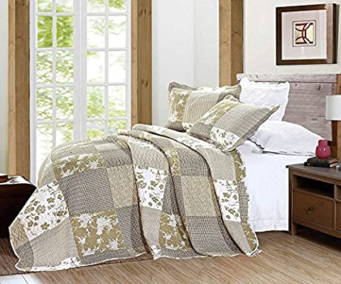 Luxury Vintage Floral 3 Piece Quilted Embroidered Patchwork Bedspread Throw