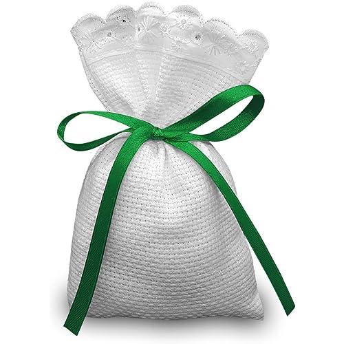 Crociedelizie, Stock 25 sacchetti bomboniere portaconfetti segnaposto in tela aida rifinitura in pizzo sangallo da ricamare a punto croce