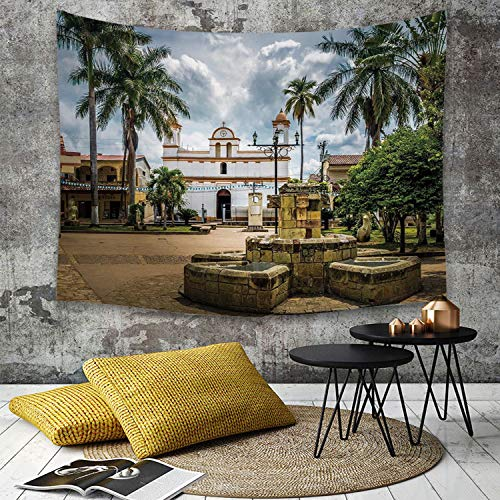 Tapestry, Wall Hanging, Reise-Dekor, Hauptplatz von Copan Ruinas Stadt Honduras Mittelamerika Maya-Stadt Palmen,wall hanging wall decor, Bed Sheet, Comforter Picnic Beach Sheet home décor 180 x 230 cm