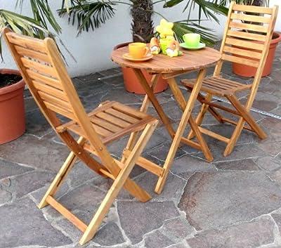 Edles Balkonset Gartengarnitur Terassengarnitur Gartenset Gartenmöbel Holz Eukalyptus Tisch 60cm + 2 Klappessel 'Modell: MEXICO-EU' von AS-S