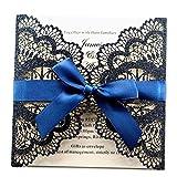 LORTAL 50X Marineblau Laser Cut Hochzeitseinladungskarten mit Spitze Flora Band Bogen Engagement für Brautdusche Geburtstag Abschlussfeier (Set von 50 STÜCKE)
