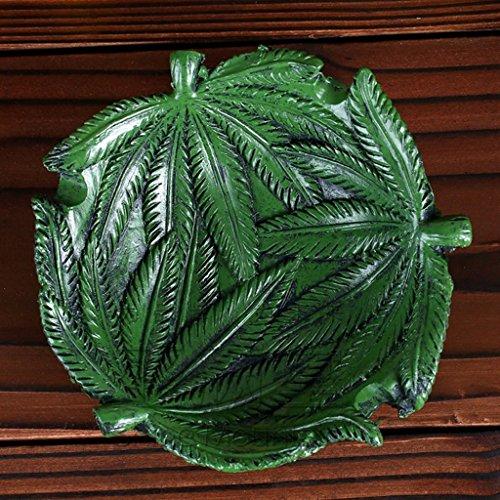 Vintage Home Decor Harz Gravur Blatt Aschenbecher, Wohnzimmer Büro Bonsai Unkraut Zigarre Zigarette Raucher Geschenk Aschenbecher (grün) HUACANG (Unkraut-home)