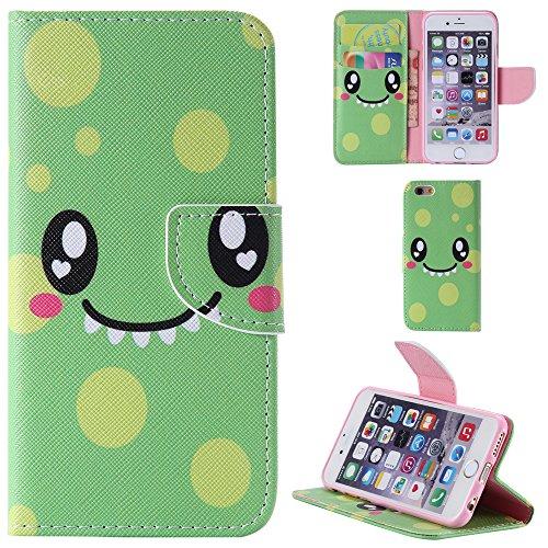 Ooboom® iPhone 5SE Hülle Flip PU Leder Schutzhülle Handy Tasche Case Cover Wallet Standfunktion mit Kartenfächer für iPhone 5SE - Wolf Lächelndes Gesicht Grün
